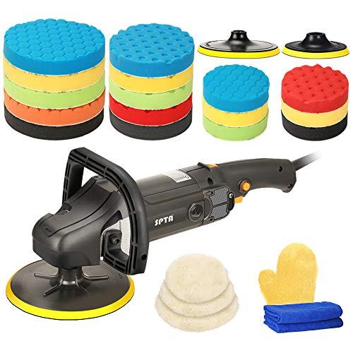 SPTA 125mm/150mm/180mm Profiset - Poliermaschine/Schleifmaschine 1200 Watt Set + Polierschwamm Zubehörset - 26 Teile - Auto polieren