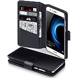 Huawei Honor 8 Case, Terrapin [ECHT LEDER] Brieftasche Case Hülle mit Kartenfächer und Bargeld für Huawei Honor 8 Hülle Schwarz