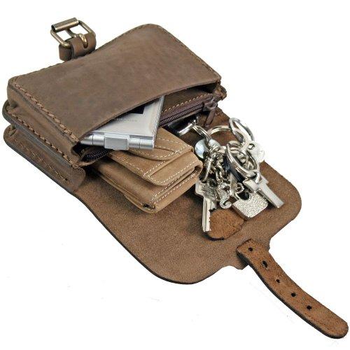 Mika Lederwaren Gürteltasche Leder 15 cm braun-matt