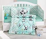 Best Class Juego de Ropa de Cama con diseño de Panda, 100% algodón, Juego de edredón y Funda de Almohada para bebé