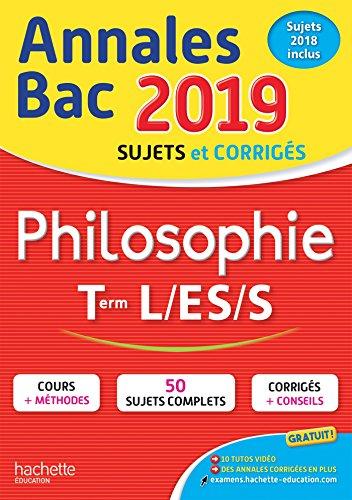 Annales Bac 2019 Philosophie Term L, ES, S