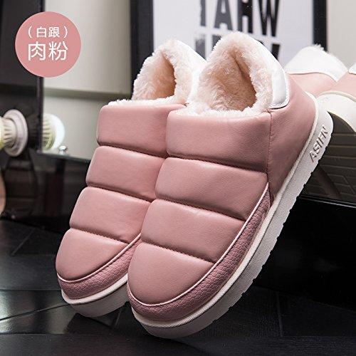 DogHaccd pantofole,Autunno Inverno slitta impermeabile coperta pantofole di cotone confezione a caldo con uomini e donne matura home soggiorno anti-slittamento pantofole spessa Bianco e rosa2