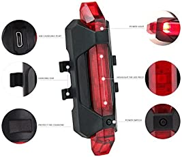 SHOPEE BRANDED Imported USB High-Brightness LED Light Bicycle Rear Tail Lamp Rechargeable Waterproof RED COLOR