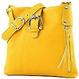 modamoda de - ital Umhänge-/Schultertasche aus Leder T04, Farbe:Gelb