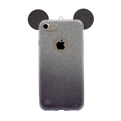 """iPhone 6 4.7"""" Coque Case, Housse de Protection pour iPhone 6S Mince Style Souple TPU Transparente Dessin animé Mignon Oreille Changement gradual Bling poudre Désign Mode Luxe Noir"""