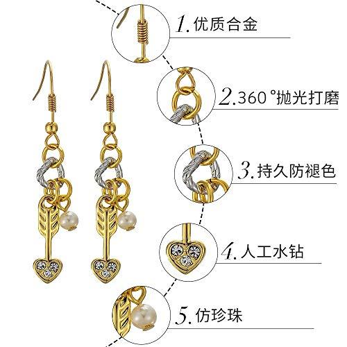 ERHUANWY Kleine Ohrringe des Goldenen Pfeiles Weibliche Einfache Künstliche Perlenohrringe Art Und Weise Einfach (Pfeil Goldene Kleine Ohrringe)
