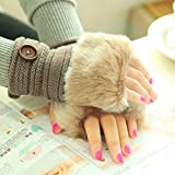 Vovotrade® Winter Must Gloves!!!Women Warm Winter Faux Rabbit Fur Wrist Fingerless Gloves Mittens (Khaki)
