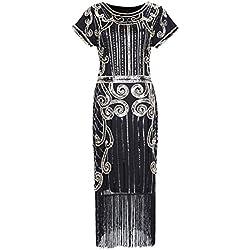 Clothin Mujeres del estilo de los años veinte lentejuelas cuentas flecos Flapper vestido vintage inspirado gran Gatsby vestido Q4 Black gold M