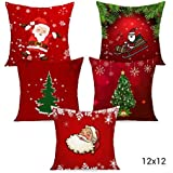 TIED RIBBONS Christmas Decorations Cushion Cover (12 X 12 Inch ) -Set of 5