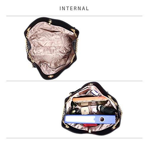 LeahWard Frauen Faux Leder Umhängetasche Tragetaschen Handtaschen für Frauen Schulferien CW190 (Burgund Hobo Tasche mit Faux Pelz Charm) Schwarz Umhängetasche mit Kette