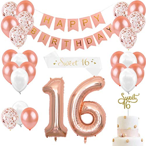 JOYMEMO Rose Gold Geburtstag Dekorationen & Sweet 16 Party Supplies für Mädchen, Cake Topper, Satin Schärpe, 16 Anzahl Luftballons, Happy Birthday Banner und Luftballons Pearl White