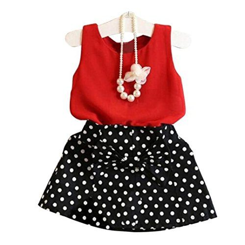 feiXIANG Mädchen Röcke Zwei stücke Set Kleidung Kinder Kleid Rock Chiffon Bluse + Dot Rock Printkleid (100, Rot) (Kleid Kinder)