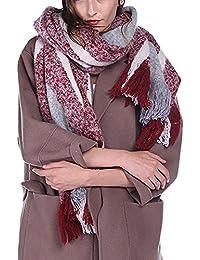 Dolamen Unisex Mujer Bufanda con borlas, Mujer de invierno lujosa ligera y suave Cashmere Enrejado Chales Estolas Fulares Bufanda Pashminas, Pañuelo caliente para ocio y negocios
