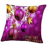 Covermason Christmas Santa Snowman Cushion Cover Soft Square Pillow Case Pillowcase 45x45CM (F)