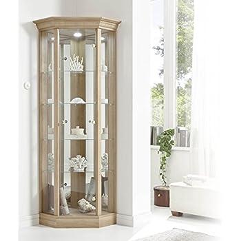 Home corner cabinet with pelmet glass display case oak for Corner display units for living room