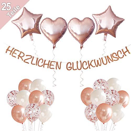 LumeeStar Herzlichen Glückwunsch Glitzer Girlande Deko Set für Geburtstage Hochzeit Jubiläum Rente Abschluss | Rose-Gold | Konfetti Luftballons Herzen Sterne