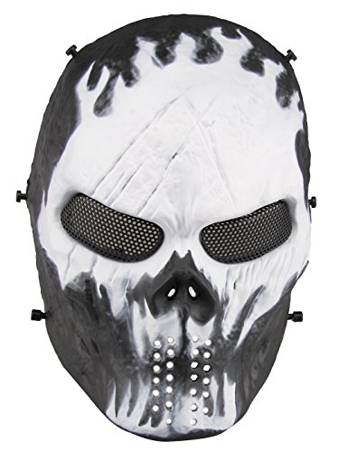 Aoutacc Airsoft Totenkopf Maske, Full Face Skull Taktische Maske mit Metall Mesh Augenschutz, Maskenball, Party und Halloween Cos Schädel Maske, Cs War Game, BB Gun (Will-o'-The-wisp) (Metall-airsoft Bb Gun)