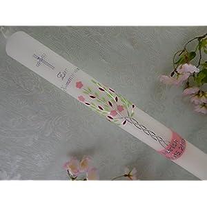 Kommunionkerze Lebensbaum rosa grün silber Taufkerzen Kommunionkerzen handmade für Mädchen 400/40 mm mit Name und Datum