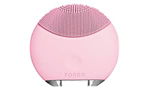 FOREO LUNA mini Electric Face Brush Portable Cleanser and USB Rechargeable Sonic Cleansing System Petal Pink