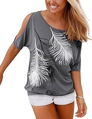 Ninimour Sommer Frauen Bluse weg von der Schulter Feder Druck Muster Jumper Tops Pullover T-Shirt