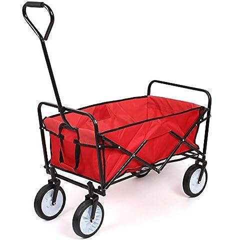 HOMFA Chariot de Transport 83X53X63cm Charrette à Bras Chariot Transport Bricolage Pliable Remorque Pliante Poussette a 80kg (Rouge)