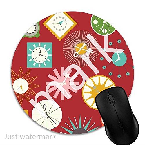 Maus-Pad Retro Uhren auf Rot,7 inch rund Mouse-Pad mit rutschfester Unterlage Standard 1V1636