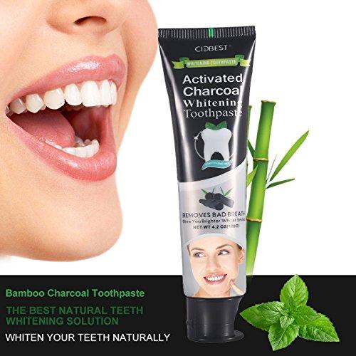 Pastas de dientes Blanqueador de Dientes Carbón Activado de Bambú Pasta de Dientes Teeth Whitening Toothpaste Negra Pastas de dientes Elimina naturalmente el mal aliento y las manchas de café