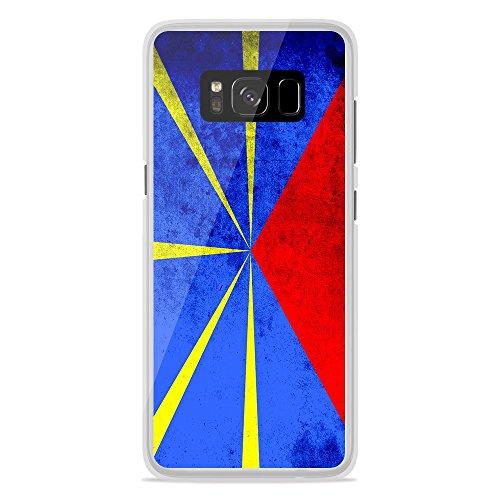 Housse Coque Etui Samsung Galaxy S8 Plus silicone gel Protection arrière - Drapeau La Réunion