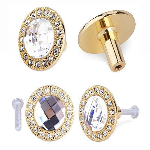 10PCS rund 30mm Pull Griff glitzerndem Kristall Glas Strass Knopf für tun... (Kristall-gold-door Knob)