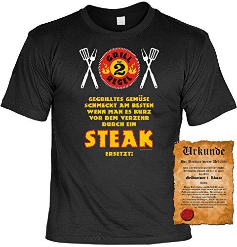 Grill T-Shirt Grillregel Nr. 2 - Steak statt Gemüse Griller Fun Shirt 4 Heroes Geburtstag Geschenk geil bedruckt mit Grillmeister Urkunde Schwarz