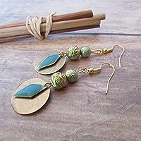 Boucle d'oreille crochet perle greque en vert de gris patiné or sequin émaillé, Cadeaux anniversaires, cadeaux Noël, cadeaux maman, st Valentin, mariage, cadeaux maitresses