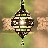 Orientalische Lampe Marokkanische Pendelleuchte | Echtes Kunsthandwerk aus Marokko wie aus 1001 Nacht | Hängelampe Leuchte Pendellampe Laterne | Maha Grün-Weiss