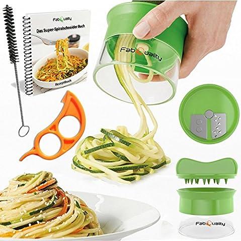 Premium Spiralschneider la main pour Gemüsespaghetti pomme de terre - avec un faisceau Kochbuch et contient les Bürste pour les opérations de nettoyage - FabQuality courgettes Spargelschäler, Gurkenschneider, Gurkenschäler, Möhrenreibe Möhrenschäler Gemüsehobel,
