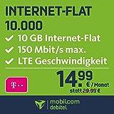 mobilcom-debitel Internet-Flat 10.000 im Telekom-Netz  (14,99 EUR monatlich, 24 Monate Laufzeit, 10 GB Internet-Flat, LTE mit max. 150 MBit/s, EU-Roaming-Flat, Triple-Sim-Karten)