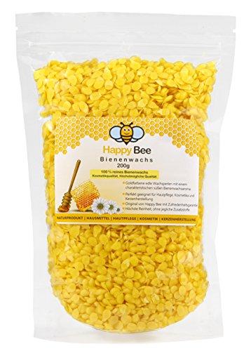 100 % reines Bienenwachs - 200 g - Pure gelbe Bienenwachs Pastillen – Bee wax - Perfekt geeignet für Kosmetik und die Kerzen Herstellung mit der ganzen Familie
