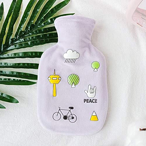 Wassergefüllte Wärmflasche - personalisierte Text Wasser Winter Plüsch Cartoon Student Handwärmer Gummi explosionsgeschützte Warmwasserbeutel 350ml @ lila
