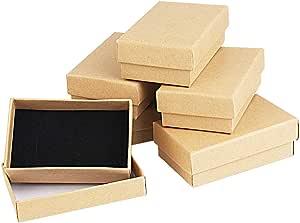 Kbnian Scatole di Cartone Kraft 8 * 5 * 2.8cm Set Scatola di Cartone Kraft Scatole Regalo scatole di Gioielli Cartone Marrone Kraft per Anello, Collana Anniversari, Matrimoni o Compleanni
