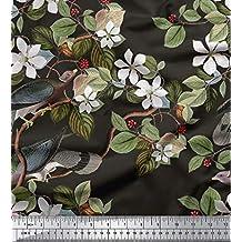 Soimoi Puro Tessuto di Seta 20 gsm Uccello e Stampa Floreale 44 Pollici di  Larghezza Materiale b0d5114b0e6