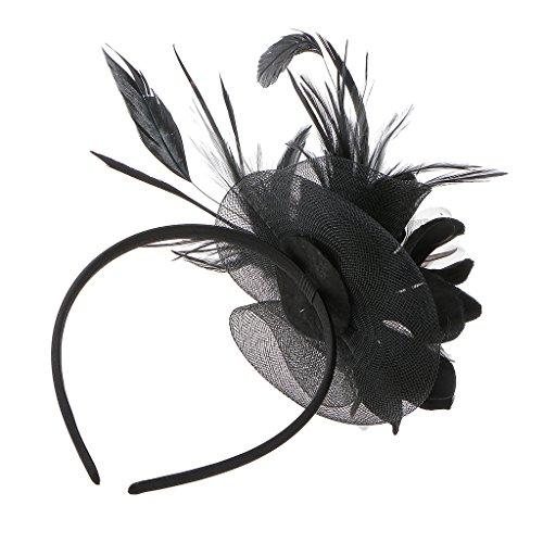 Schwarze Gerste (Hochzeit Damen Feder Fascinator Haarreif Blume Schleier Hut Kopfband Haar-Accessoires - Schwarz)