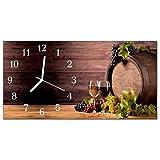 DekoGlas Glasuhr 'Weingläser Mehrfarbig' Uhr aus Acrylglas, eckig große Motiv Wanduhr 60x30 cm, lautlos für Wohnzimmer & Küche