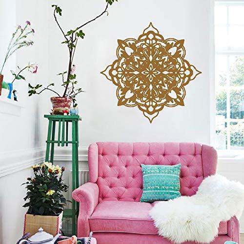 lyclff Yoga Blume Wand Applique dekorative Wand Kunst Vinyl Geschnitzte Wandaufkleber Wohnzimmer Schlafzimmer Dekoration braun 114x114cm (Metall-krone-wand-kunst)