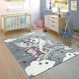 Paco Home Alfombra Infantil Arco Iris Unicornio Color Gris, tamaño:80x150 cm