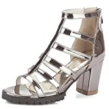 Frauen Roman Schuhe Peep Toe Block High Heels Stiefel Schnallen Abendgesellschaft Prom Sandale Gladiator,Gunmetal-EU34=220