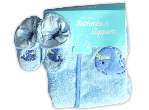 Owen Bathrobe and Slippers Set, (Blue)