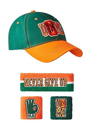 brand new d5665 587f4 John Cena Green Orange 15x U Can t See Me Baseball Hat Headband Wristband  Set