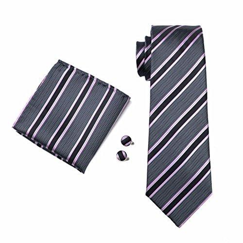 Streifen zweifarbig Bunt gestreift Seide Krawatte Set Binder Schlips Hochzeit Einstecktuch Manschettenknöpfe Krawattenset (Grau Schwarz Rosa (464))