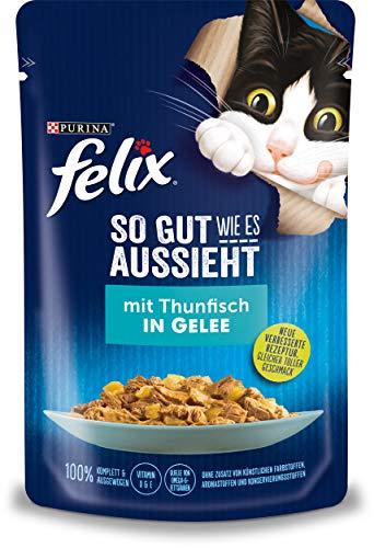 Felix Katzennassfutter So gut wie es aussieht in Gelee mit Thunfisch 24x 85 g Portionsbeutel