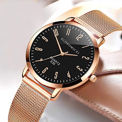 creatspaceDE E39 Simple Mode-Uhr-Frauen wasserdichtes Ineinander greifen Luxusuhr Datum Quarz-Uhr-Uhren für Damen Farbe: Schwarz