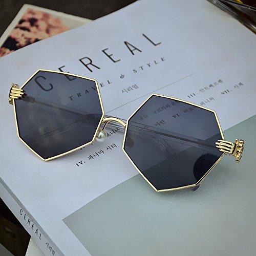 LXKMTYJ Persönlichkeit Sonnenbrille Polygon Perlen Nase Kissen Gläser achteckigen Sonnenbrille Gräber, Schwarz Grau