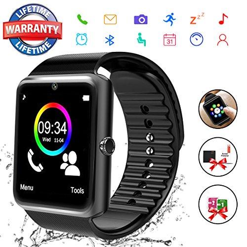 Reloj Inteligente Hombre, Smartwatch Hombre con Cámara Pantalla Táctil Ranura para Tarjeta SIM Teléfonos Inteligentes para Android Samsung iOS iPhone 8 7 6S Plus para Hombres Mujeres Niños